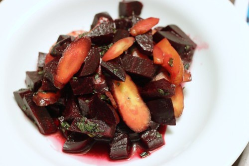 warm carrot and beet salad