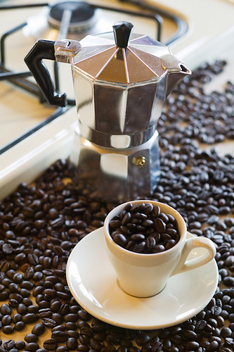 Espresso Coffee Maker and Coffee Beans