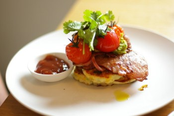 Miss Jackson: Corn Fritters, Bacon and Tomatos