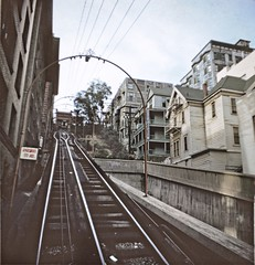 BH110 Angels Flight tracks, Bunker Hill, Los Angeles - Late 1950s.  This copyrighted photograph was taken by George Mann of the comedy dance team, Barto & Mann.jpg