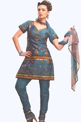 Steel Blue Cotton Party Salwar Kameez