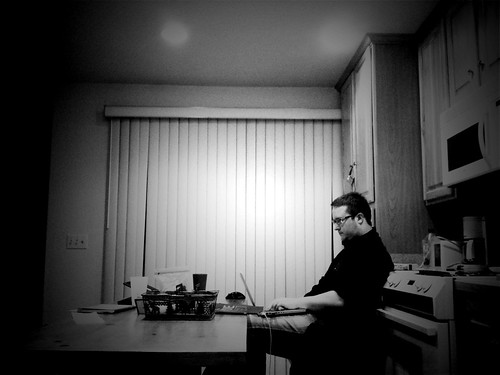 Here is @firstshowing blogging in the kitchen because if he steps on the carpet I will kill his ass