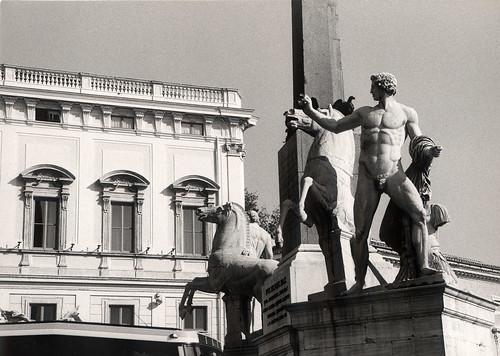 Rome Casa Blanca and Statue piazza del quirinale black and white italy