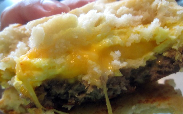 ooey sausage egg and cheese biscuit