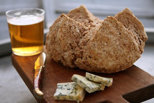 brown bread, beer, cheese