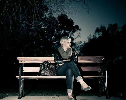 Park bench at night