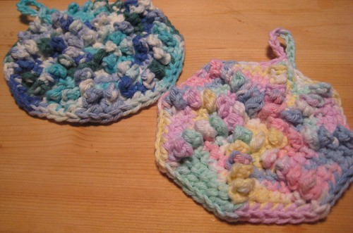 My variant - Spiral Nubby Dishcloth - is worked in a round ...