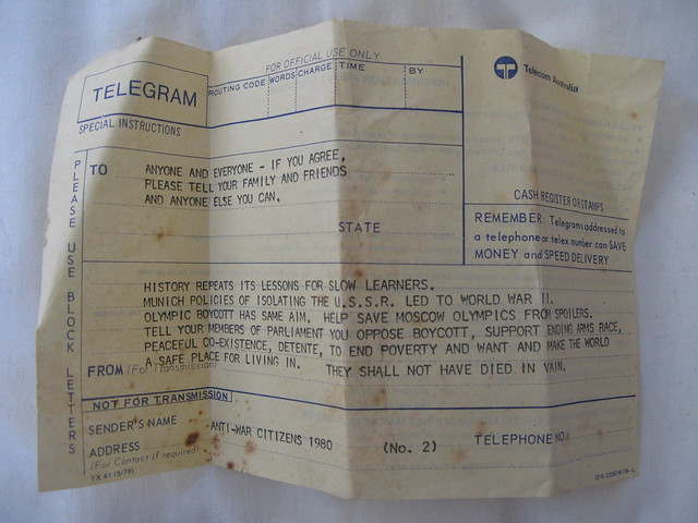 "1980 telegram from activist group ""Anti war citizens"""