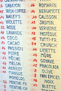 ice cream flavors at Fennochio