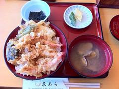 お昼は、魚あらにて天丼をいただきました