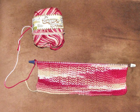 red ombre dish cloth