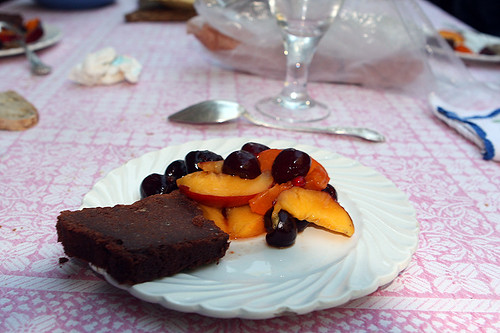 chocolate cake with summer fruits