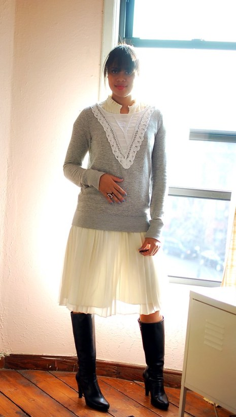 outfit sweatshirt pleated skirt feminine