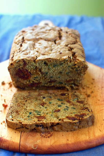 zucchini bread with dried sour cherries and sunflower seeds