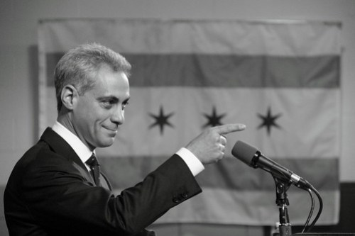 Rahm Emanuel, Pointing, With Chicago Flag in Background, in b/w