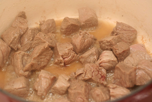 beef browning in pan