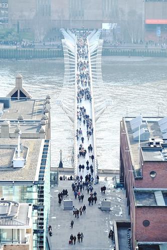 The Millennium Bridge seen from atop St Paul's