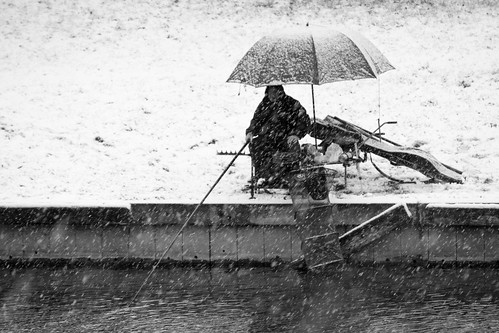 Fishing in the snow