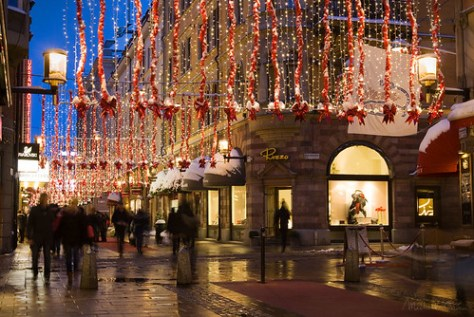 Christmas time on Biblioteksgatan in Stockholm