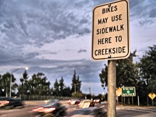 Bikes May Use Sidewalk - Hamilton Avenue Campbell California
