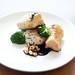 black cod baked with miso, mirin, crispy sesame rice cake, chili and soy braised honshimeji mushrooms