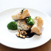 black cod baked with miso, mirin, crispy sesame rice cake, chili and soy braised honshimeji mushrooms