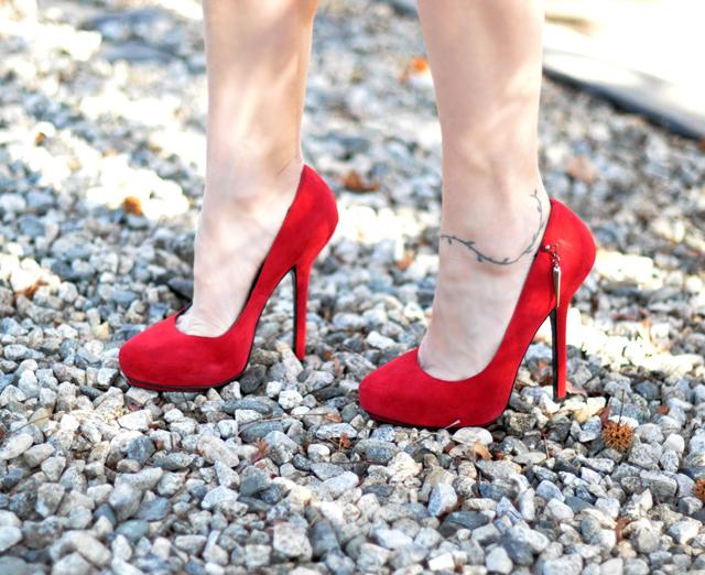 Rock a Republic red suede stilettos