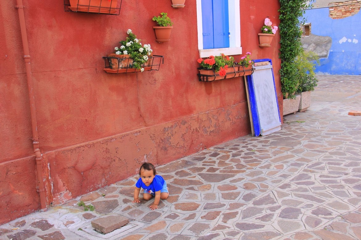 Cobbled stone streets and colourful houses of Burano island