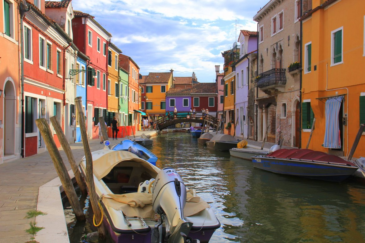 Murano island is famous for colourful houses.