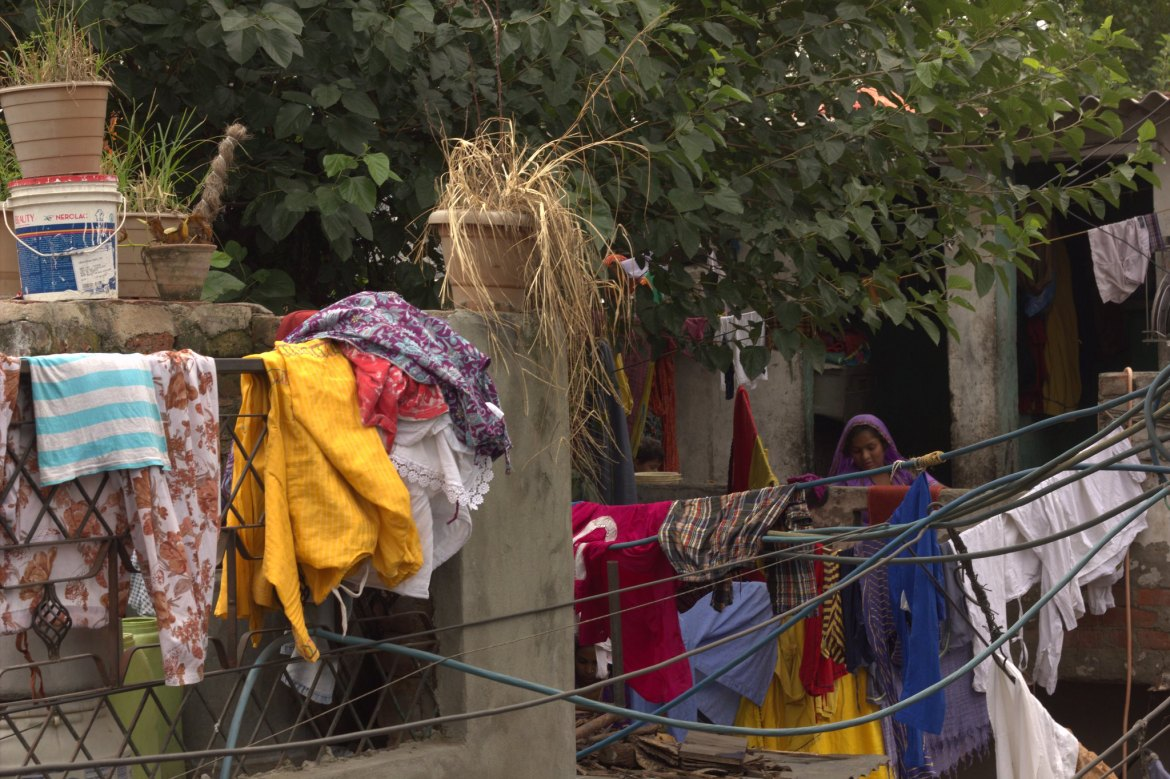 The illegal settlement of Kathputli Colony in Delhi