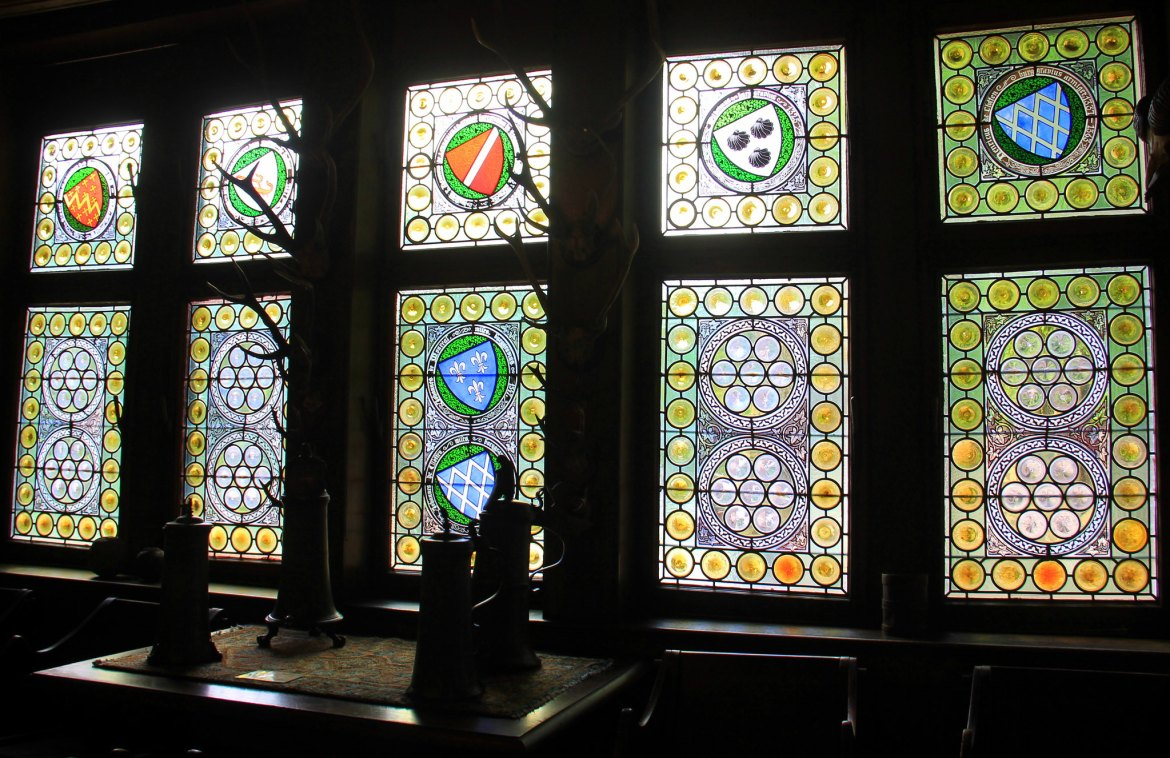 Stained glass interiors of the Cochem castle