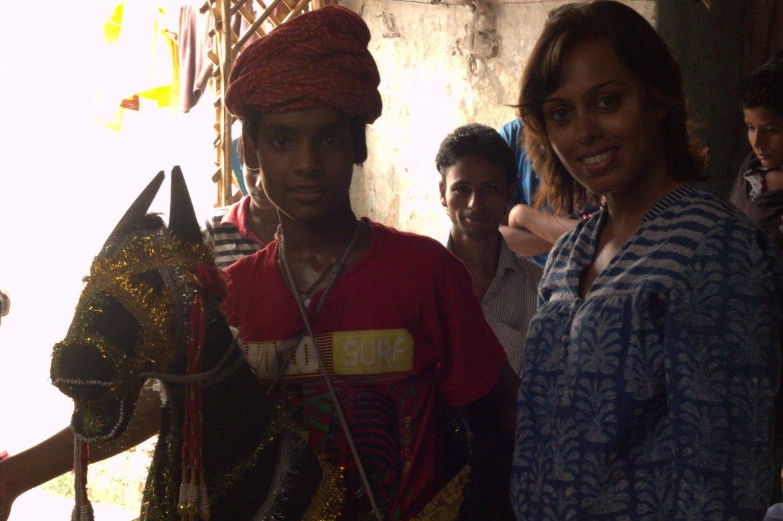 Taking part in Delhi slum walk at Kathputli Colony