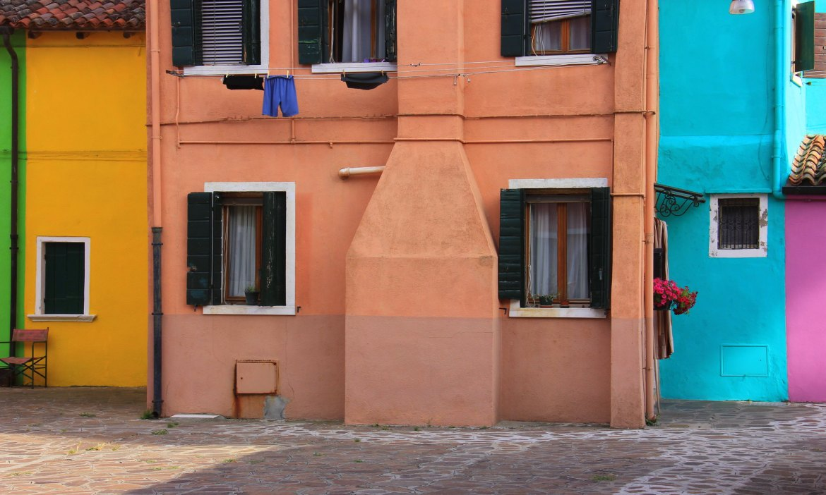 The colourful houses on Burano island used to help navigate fishermen during fogs