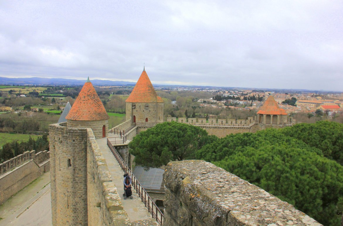 Walking along the battlements of Carcassonne