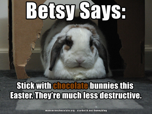 betsy says: stick with chocolate bunnies this Easter