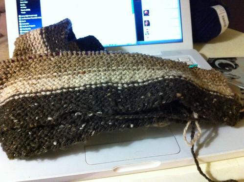Lengthwise garter stitch striped scarf
