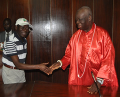 """Governor Adams Oshiomhole of Edo State and High Chief Ediagbonya, Ohengie N'Ogbeson, during the endorsement of Mr Godwin Obaseki, the APC governorship candidate in Edo State by Chief Priests in Edo State, Tuesday. • <a style=""""font-size:0.8em;"""" href=""""http://www.flickr.com/photos/139025336@N06/29243893433/"""" target=""""_blank"""">View on Flickr</a>"""