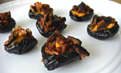 Hickory Cheese Stuffed Prunes with Crumbled Tempeh Bacon