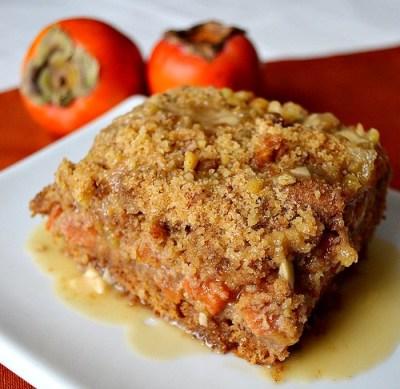 Persimmon Ginger Crumb Coffee Cake