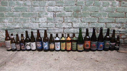 A line-up of the commercial smoked beers that were tasted