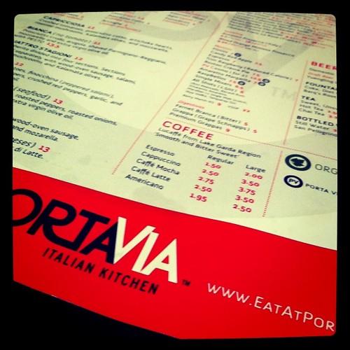 menu at Porta Via