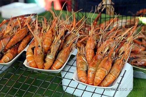 Grilled Shrimp, Street Food in Thailand