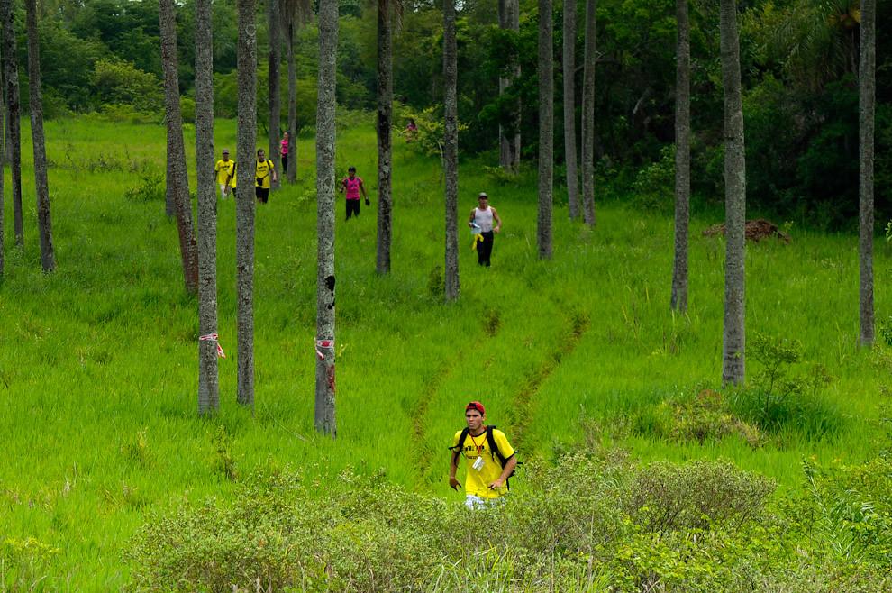 Saliendo de la zona boscosa. Un participante a un ritmo moderado de trote continúa su carrera (Trekking) hacia el puesto de Control 04 en la zona cercana a la cima del Cerro Naranjo. (Elton Núñez - Piribebuy, Paraguay)
