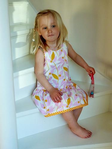 Frida wearing her tropical blend dress