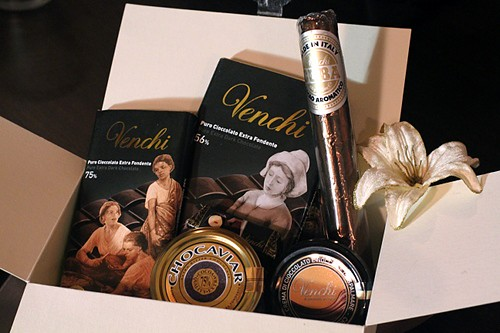 Inside my Venchi Italian chocolate gift box