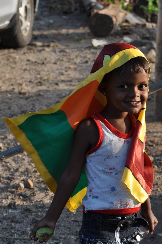 Child with Sri Lankan Flag on Independence Day February 4th 2010 Ginigathhena Sri Lanka