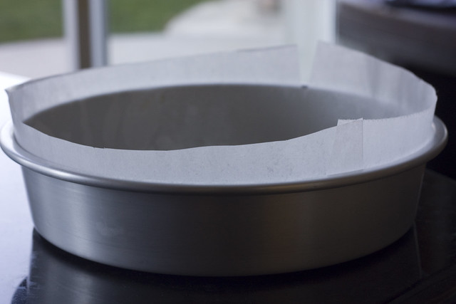 "9"" round cake pan lined with parchment paper"