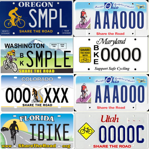 Share the Road license plates