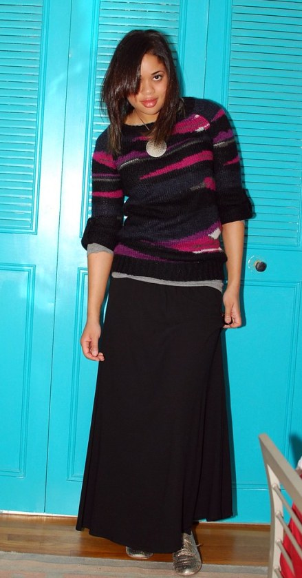 A Stylized Hysteria black maxi skirt and sweater
