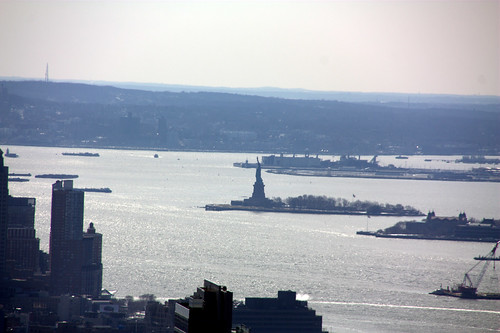 statue of liberty, from the top of the rock